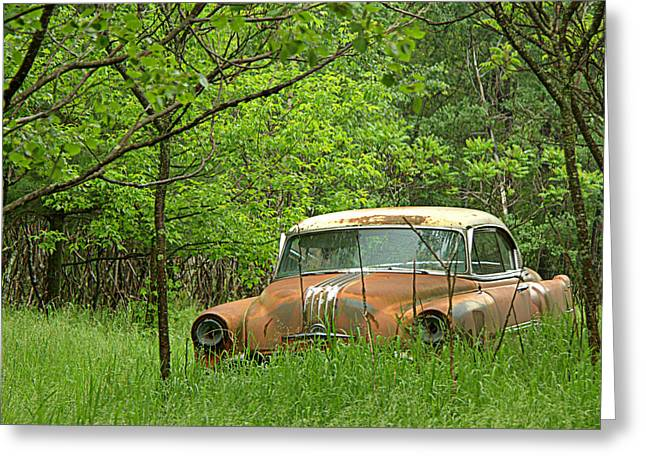 Fashion Photograph Greeting Cards - Abandoned Car - 3 Greeting Card by Tam Graff