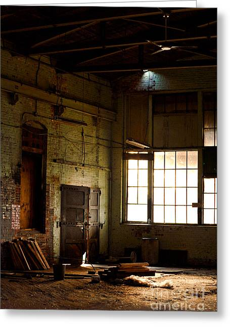 Warehouses Greeting Cards - Abandoned Factory Greeting Card by HD Connelly