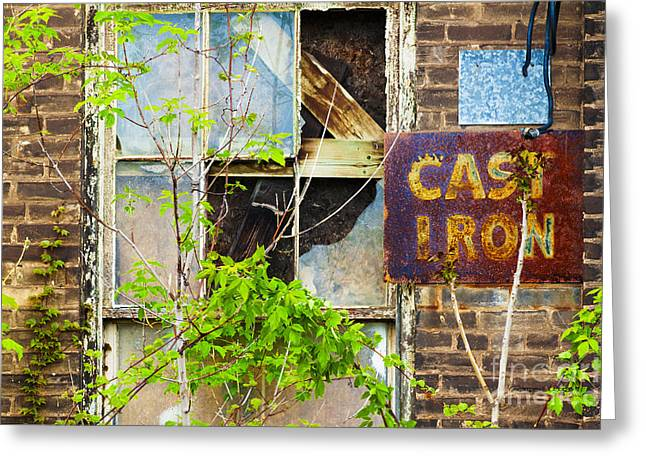 Vandalize Photographs Greeting Cards - Abandoned Factory with Rusted Metal Sign Greeting Card by Gordon Wood