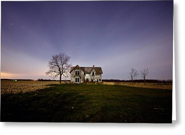 County Landscape Greeting Cards - Abandoned Farmhouse at Night Greeting Card by Cale Best