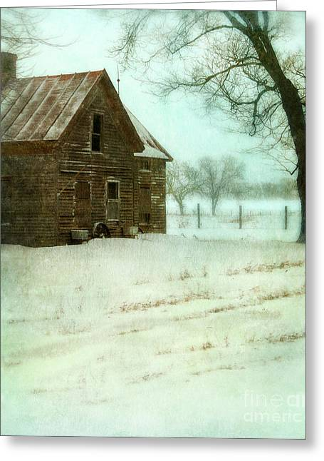 Winter Scenes Rural Scenes Greeting Cards - Abandoned Farmhouse in Snow Greeting Card by Jill Battaglia