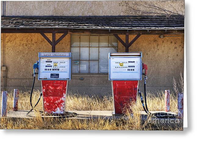 Not In Service Greeting Cards - Abandoned Gas Pumps and Station Greeting Card by Dave & Les Jacobs