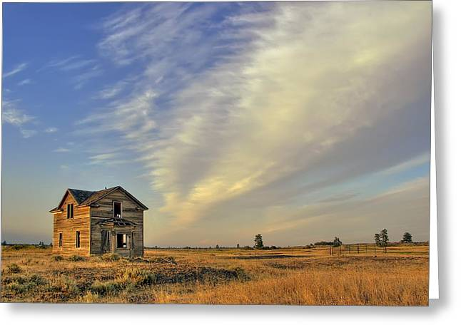 Pioneer Homes Photographs Greeting Cards - Abandoned Homestead - Fishtrap Lake - Eastern Washington Greeting Card by Daniel Hagerman