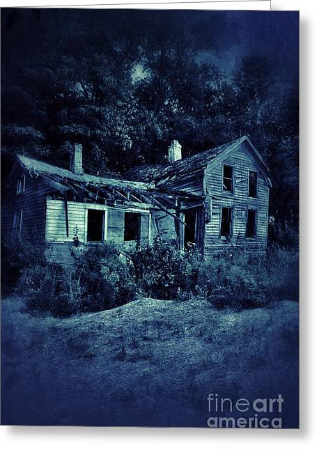 Clapboard House Greeting Cards - Abandoned House at Night Greeting Card by Jill Battaglia