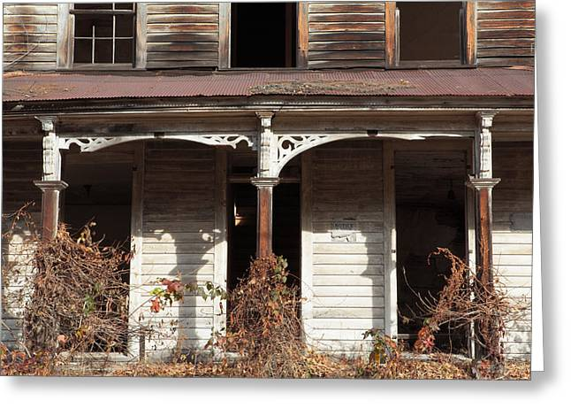 Residential Structure Greeting Cards - Abandoned House Facade Rusty Porch Roof Greeting Card by John Stephens