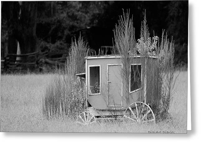 Horse-drawn Digital Art Greeting Cards - Abandoned in the Field Black and White Greeting Card by DigiArt Diaries by Vicky B Fuller