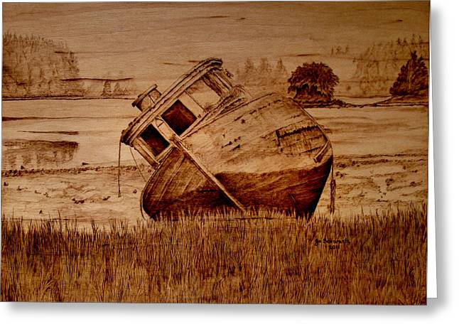 Fishing Pyrography Greeting Cards - Abandoned Greeting Card by Jo Schwartz