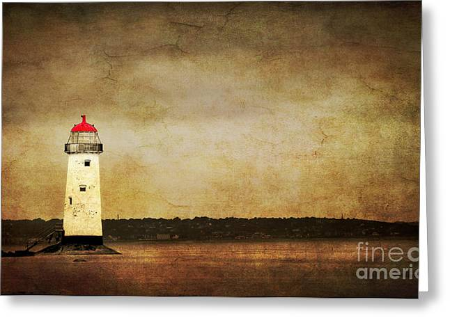 Abstract Beach Landscape Greeting Cards - Abandoned Lighthouse Greeting Card by Meirion Matthias