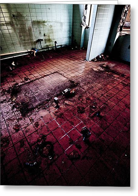 Abandoned Locker Room Greeting Card by Christopher Kulfan