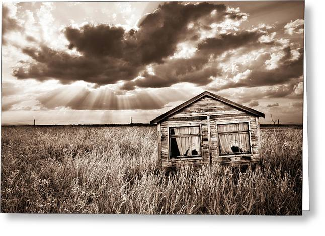 Shack Photographs Greeting Cards - Abandoned Greeting Card by Meirion Matthias