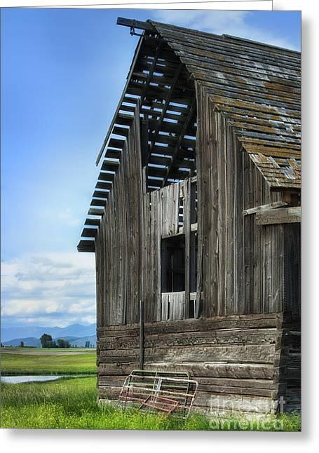 Abandoned Montana Barn Greeting Card by Sandra Bronstein