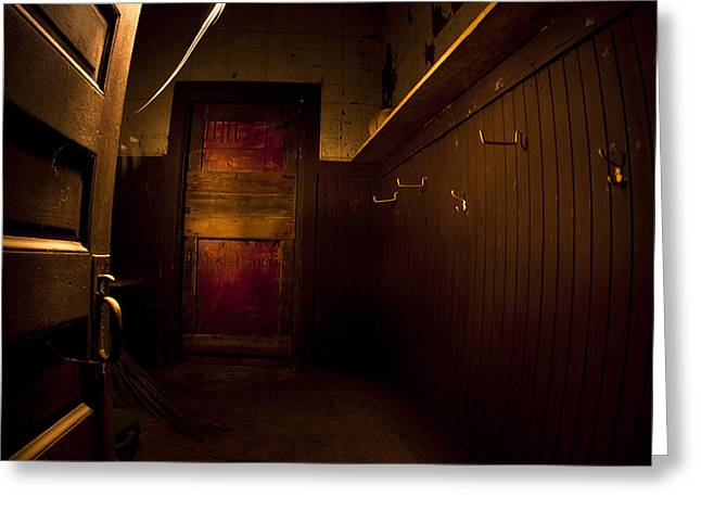 Spooky Door Greeting Cards - Abandoned Schoolhouse Greeting Card by Cale Best