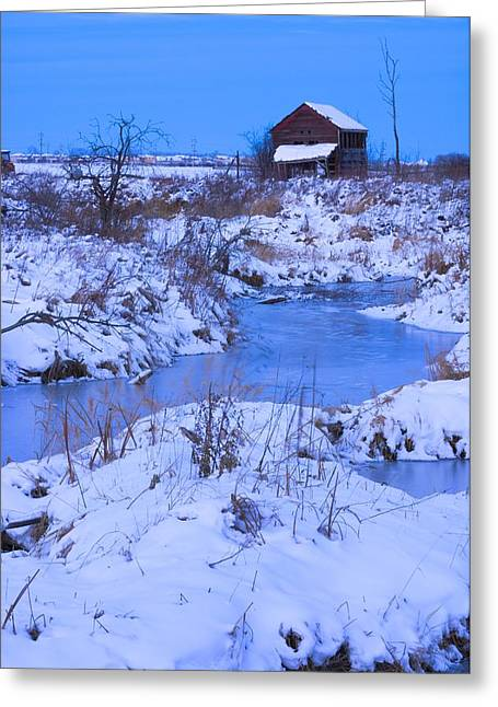 Farm Structure Greeting Cards - Abandoned Shack Near Frozen Creek In Greeting Card by Corey Hochachka