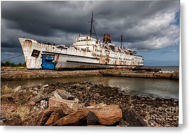River Dee Greeting Cards - Abandoned Ship Greeting Card by Adrian Evans