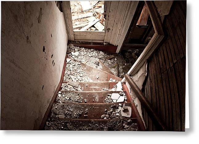 Debris Greeting Cards - Abandoned Stairs 2 Greeting Card by Cale Best