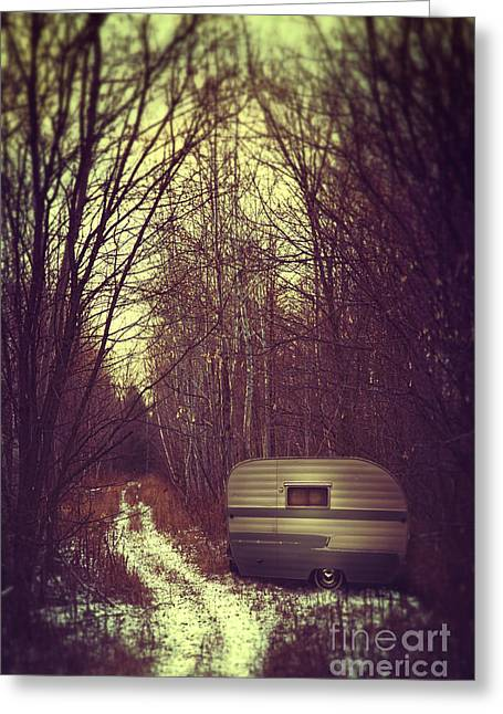 """""""strange Trees"""" Greeting Cards - Abandoned trailer in the woods Greeting Card by Sandra Cunningham"""