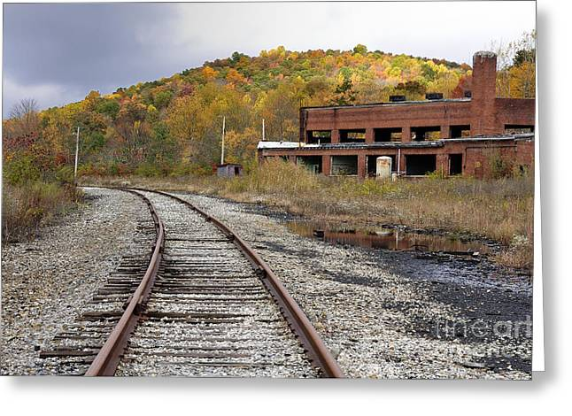 Train Yard Greeting Cards - Abandoned Train Shops Greeting Card by Thomas R Fletcher