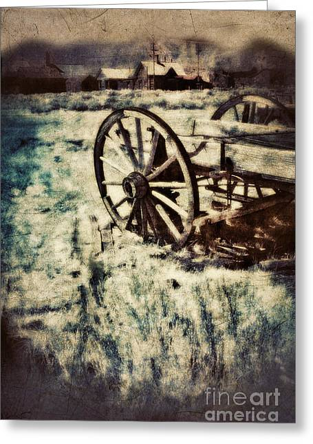 Wooden Building Greeting Cards - Abandoned wagon by old ghost town. Greeting Card by Jill Battaglia