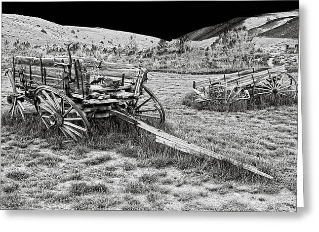 Wagon Greeting Cards - ABANDONED WAGONS of BANNACK MONTANA GHOST TOWN Greeting Card by Daniel Hagerman