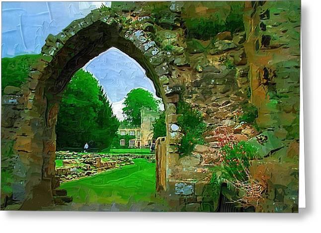 Digita Art Greeting Cards - Abbey Archway Greeting Card by Amanda Moore