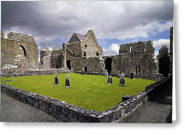 Headstones Greeting Cards - Abbeyknockmoy, Cistercian Abbey Of Greeting Card by The Irish Image Collection