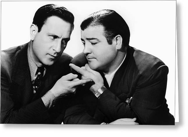 Costello Greeting Cards - Abbott And Costello, 1942 Greeting Card by Granger