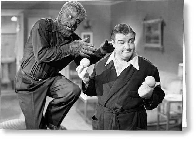 Wolfman Greeting Cards - Abbott And Costello Greeting Card by Granger