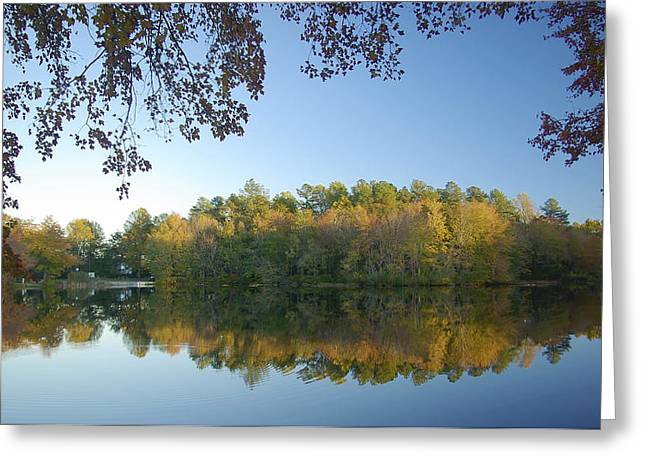 Nature Center Pond Greeting Cards - Abbotts Pond Fall Reflections Greeting Card by Brian Wallace