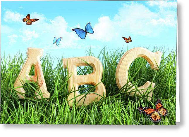 Side By Side Greeting Cards - ABC letters in the grass Greeting Card by Sandra Cunningham