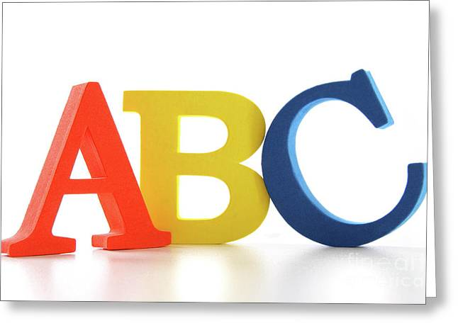 ABC letters on white  Greeting Card by Sandra Cunningham