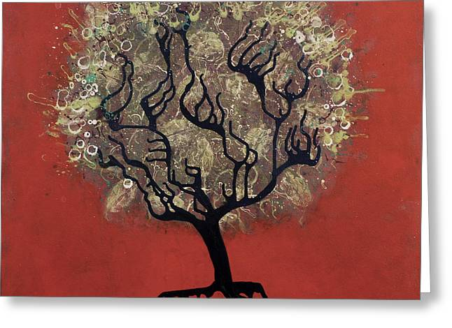 Drip Mixed Media Greeting Cards - ABC Tree Greeting Card by Kelly Jade King