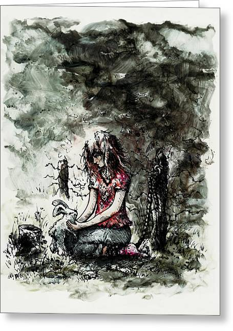Innocence Child Greeting Cards - Abducted Greeting Card by Rachel Christine Nowicki