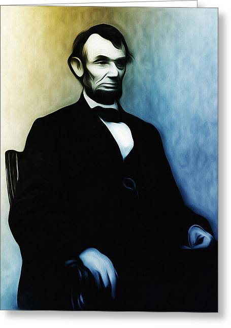 Seated Mixed Media Greeting Cards - Abe Lincoln Seated Greeting Card by Bill Cannon
