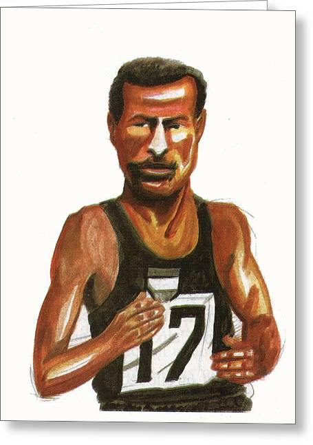 Marathon Champion Greeting Cards - Abebe Bikila Greeting Card by Emmanuel Baliyanga