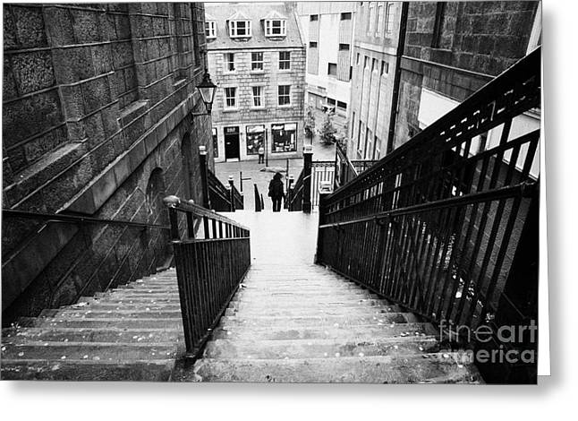 Overcast Day Greeting Cards - Aberdeen Union Street Back Wynd Stairs Scotland Uk Greeting Card by Joe Fox