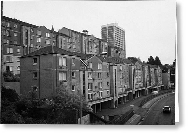 80s Greeting Cards - Aberdeen Various Blocks Of Flats Apartments Over What Was The Fittie Port And Castle Terrace Gate Sc Greeting Card by Joe Fox