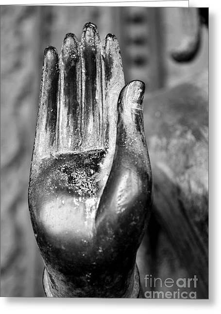 Abhaya Greeting Cards - Abhaya Mudra I in Black and White Greeting Card by Dean Harte