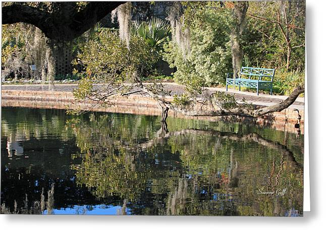 Park Benches Greeting Cards - Abide Awhile Greeting Card by Suzanne Gaff
