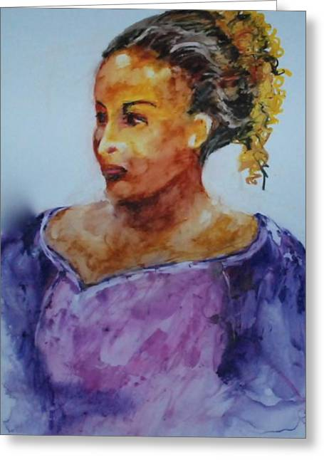 Wet Into Wet Watercolor Greeting Cards - Abigail Greeting Card by Donna Pierce-Clark