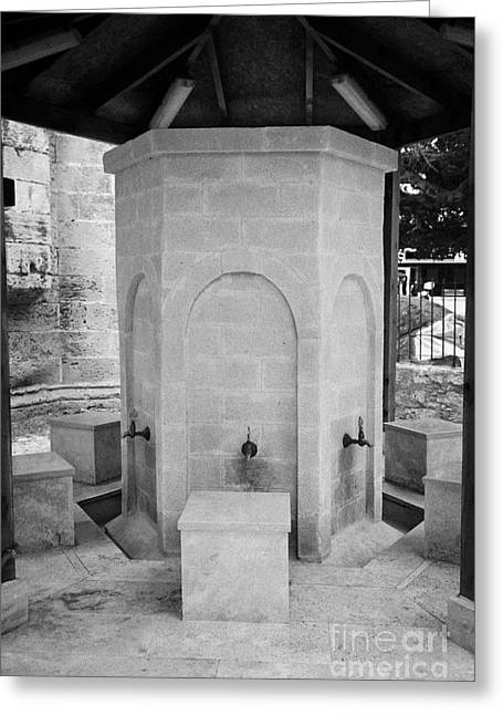 Ammochostos Greeting Cards - Ablution Fountains Outside The Lala Mustafa Pasha Mosque In Famagust Greeting Card by Joe Fox