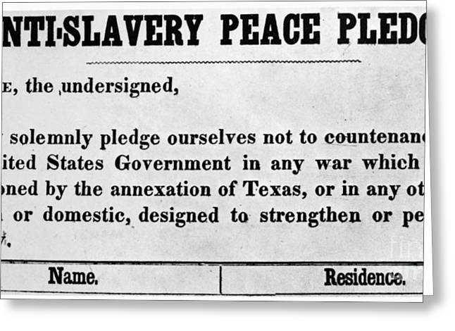 Abolition Greeting Cards - Abolitionist Peace Pledge Greeting Card by Granger