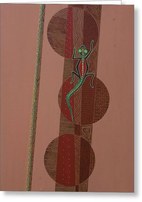 Aboriginal Art Paintings Greeting Cards - Aboriginal Lizard Greeting Card by Kaaria Mucherera