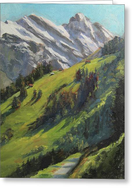 Swiss Paintings Greeting Cards - Above it All Plein Air Study Greeting Card by Anna Bain