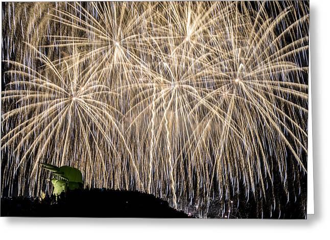 Fireworks. Kites Greeting Cards - Above the Kite Hill Greeting Card by Yoshiki Nakamura