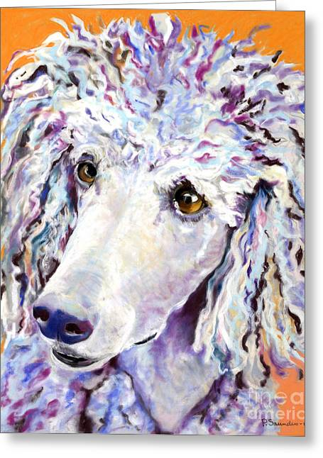 Pet Portraits Pastels Greeting Cards - Above The Standard   Greeting Card by Pat Saunders-White