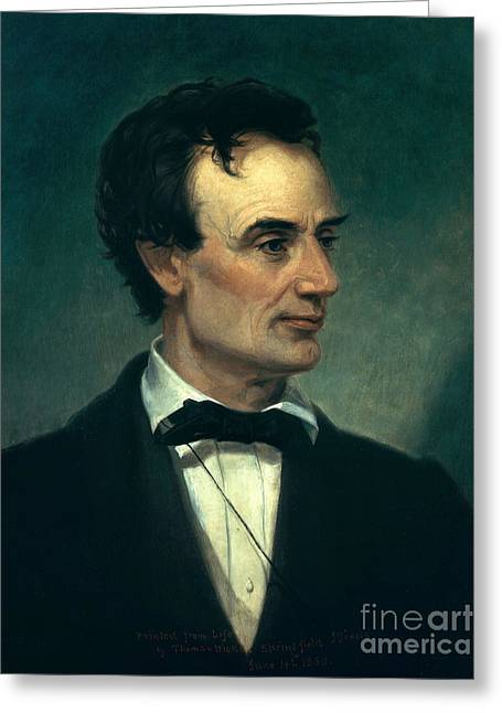 15th Amendment Greeting Cards - Abraham Lincoln, 16th American President Greeting Card by Photo Researchers, Inc.