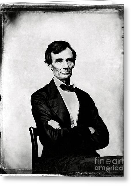 Proclamation Greeting Cards - Abraham Lincoln, 16th American President Greeting Card by Photo Researchers