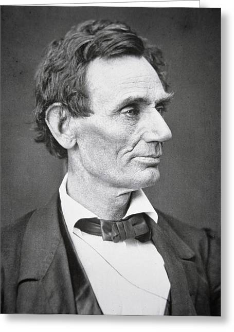 Pensive Greeting Cards - Abraham Lincoln Greeting Card by Alexander Hesler