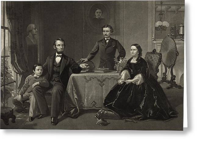 Candid Family Portraits Greeting Cards - Abraham Lincoln and family Greeting Card by International  Images