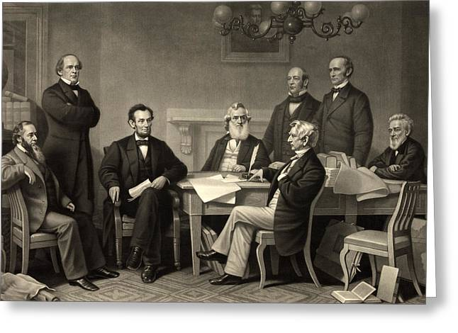 Emancipation Proclamation Greeting Cards - Abraham Lincoln at the first reading of the Emancipation Proclamation - July 22 1862 Greeting Card by International  Images